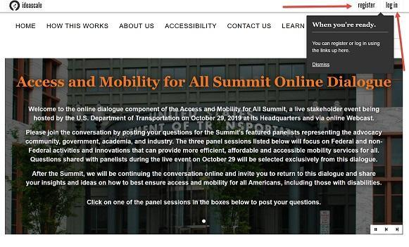 A screenshot of the top of the homepage for the Access and Mobility Summit online dialogue. Arrows point to the Register and Login links.